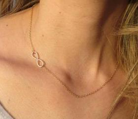 Infinity Necklace - Dainty gold necklace, Tiny infinity necklace, Gold infinity pendant, Gold jewelry, Delicate sideways necklace