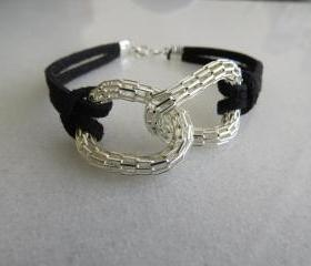 Silver bracelet - Silver infinity bracelet - Black suede bracelet - Eternity bracelet - Friendship bracelet