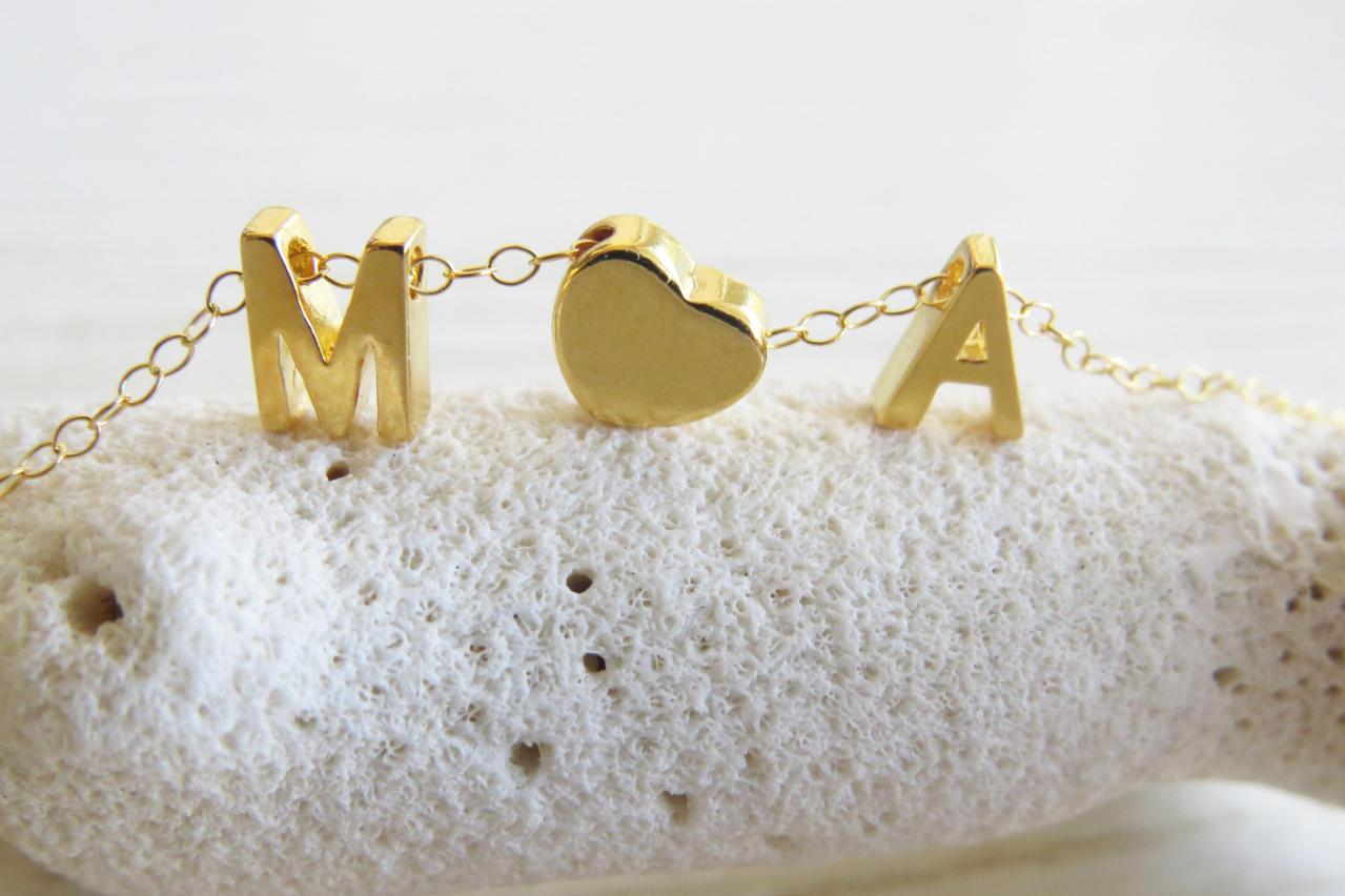 gold initial necklace goldfilled letter necklace initial heart necklace tiny initial necklace