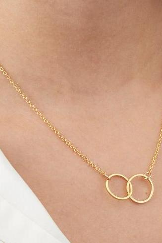 Best friend necklace, Double circle necklace, Gold necklace, Charm necklace, Gold eternity necklace, Friendship necklace, Dainty necklace