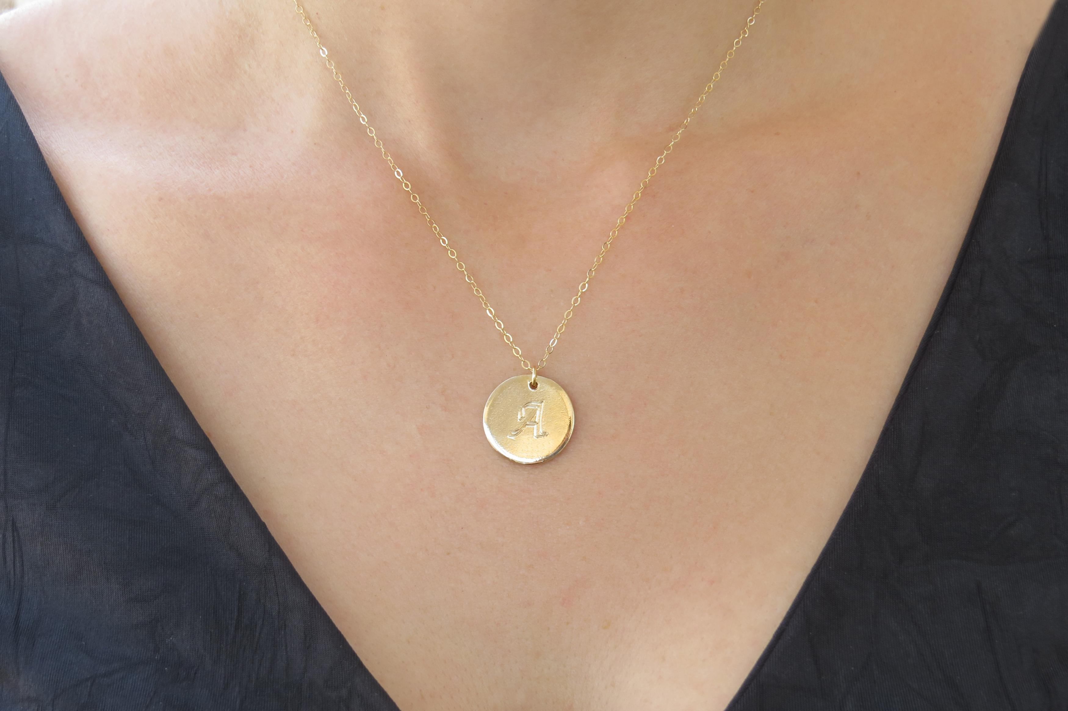 initial necklace gold necklace letter necklace gold disc necklace bridesmaid gift initial charm gold jewelry personalized necklace