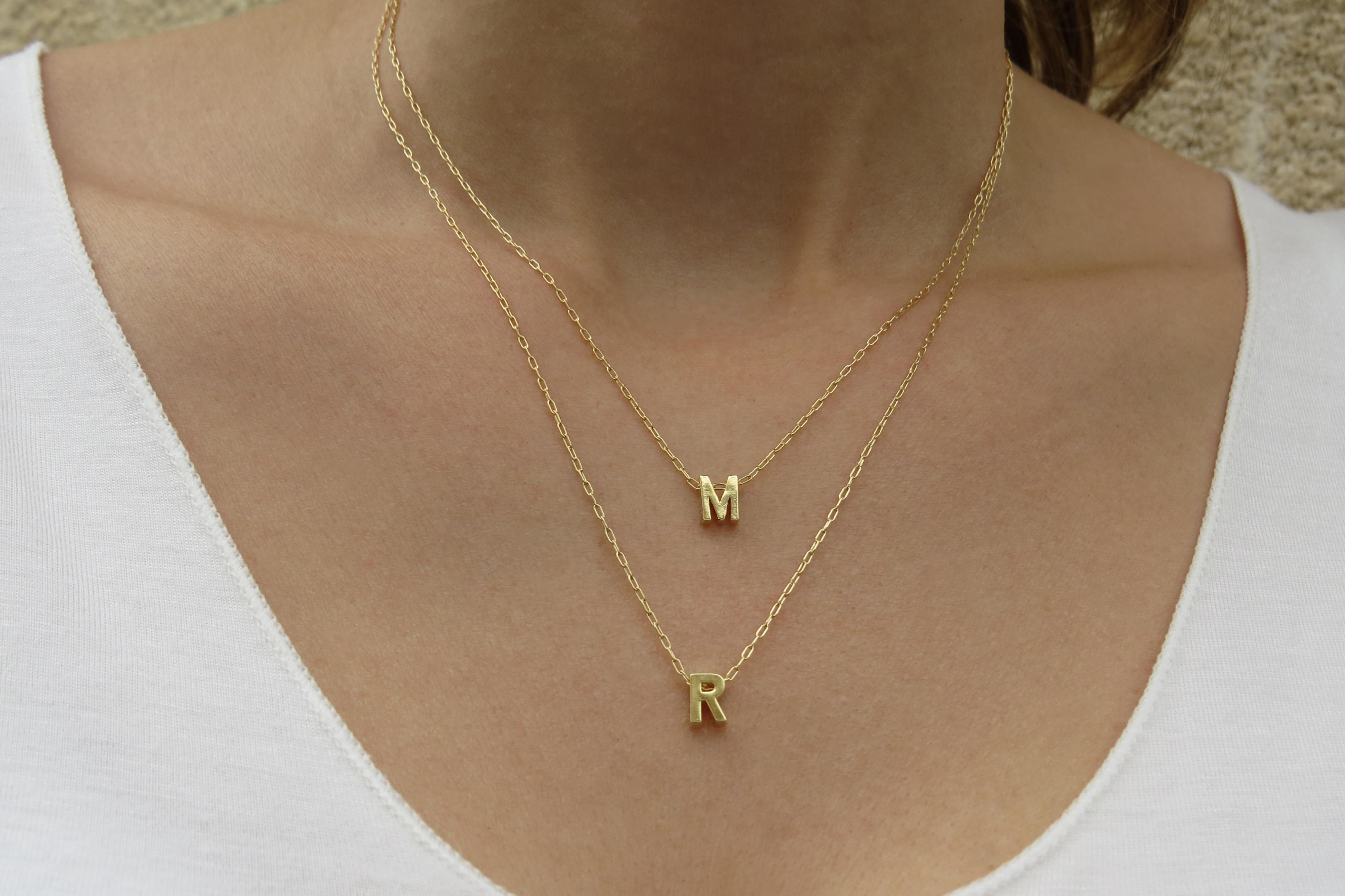 goldfilled initial necklace gold letter necklace gold necklace bridesmaid gift layers necklace personalized necklace initial jewelry