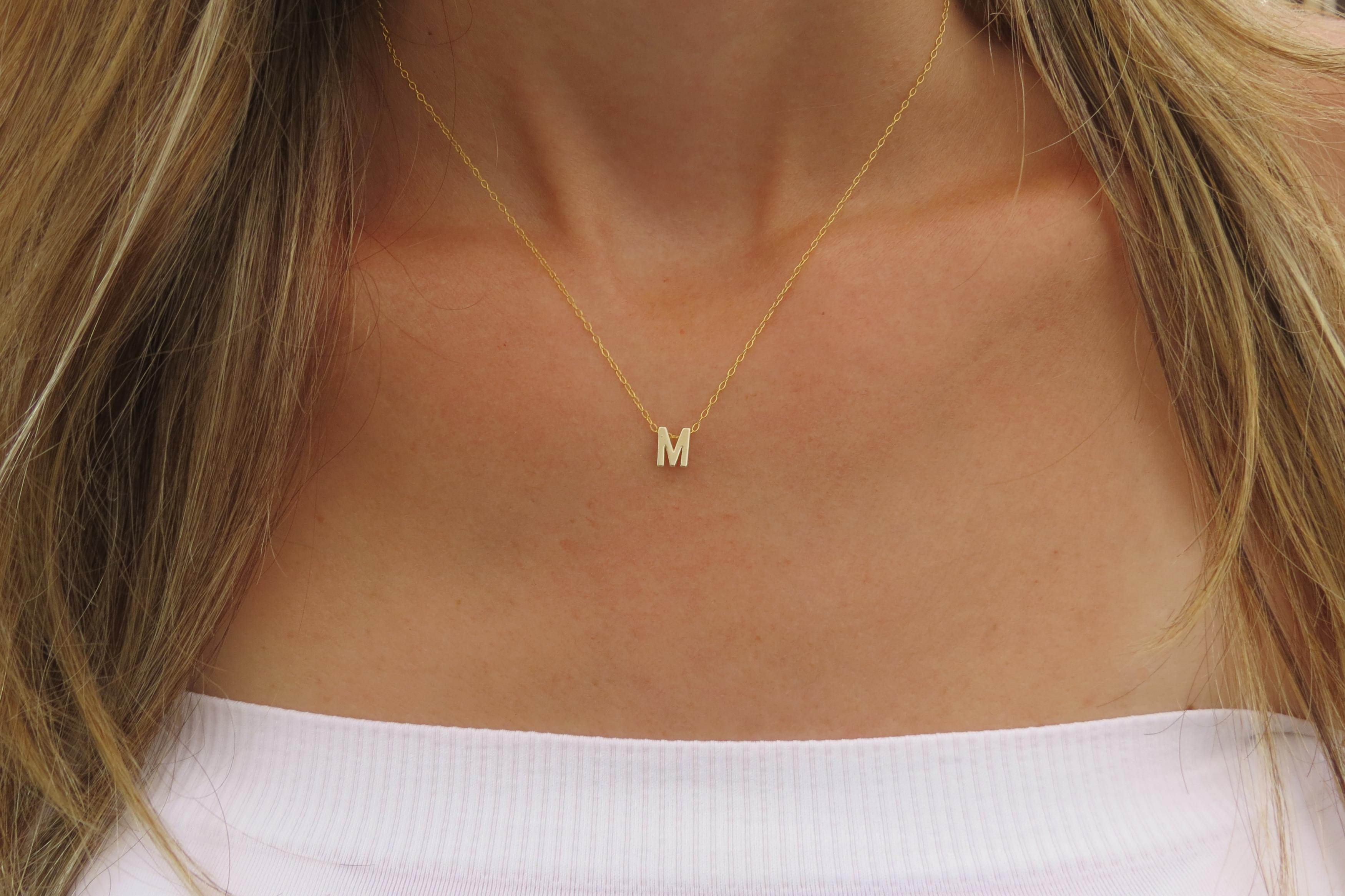 Initial Necklace - Gold Letter Necklace - Tiny Initial Necklace ...